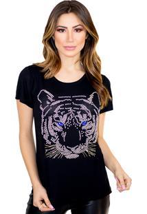 T-Shirt Cavallari Bordada A Mão Tigre Preta