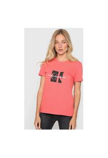 Camiseta Calvin Klein Jeans Logo Coral