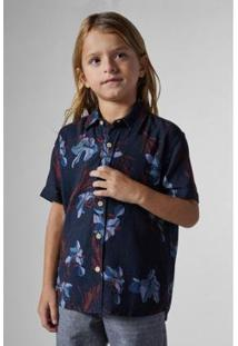 Camisa Sm Mc Lirios Reserva Mini Masculina Infantil - Masculino-Marinho