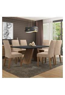 Conjunto Sala De Jantar Madesa Antonela Mesa Tampo De Madeira Com 6 Cadeiras Rustic/Preto/Imperial Rustic