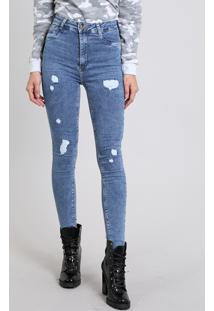 Calça Jeans Feminina Super Skinny Sawary Destroyed Azul Médio