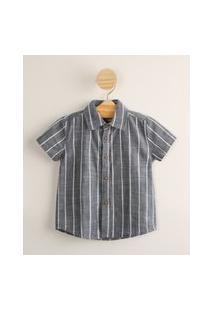 Camisa Infantil De Algodão Listrada Manga Curta Azul Marinho