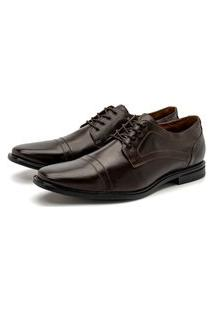 Sapato Social Masculino Torani Confortável Macio Cadarço Couro Marrom