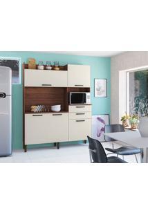 Cozinha Ravena Nogueira/Off White 5 Portas 2 Gavetas - Kits Paraná