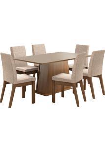 Sala De Jantar Madesa Rebeca Mesa Tampo De Madeira Com 6 Cadeiras Marrom