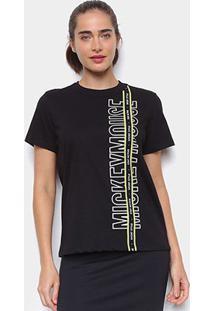 Camiseta Colcci Disney Mickey Mouse Feminina - Feminino-Preto