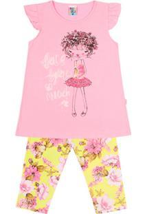 14ecb3a00a Conjunto Rotativo Infantil Menina Cotton Meia Malha - Feminino-Rosa