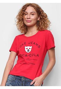 Camiseta Coca Cola Coke Jeans Feminina - Feminino-Vermelho