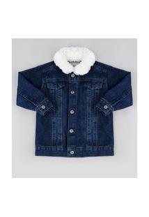 Jaqueta Jeans Infantil Com Gola De Pelo Azul Escuro