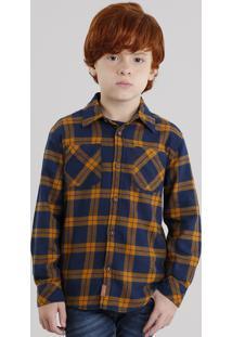 Camisa Infantil Xadrez Em Flanela Manga Longa Com Bolsos Azul Marinho
