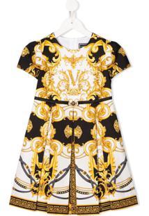 Young Versace Vestido Com Pregas E Estampa Barroca - Preto