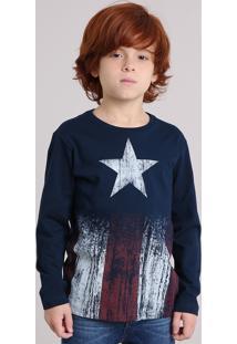 Camiseta Infantil Capitão América Manga Longa Gola Careca Azul Escuro 8c7a95adaecf5