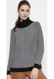 Blusão Em Tricô- Preto & Branco- Heringhering