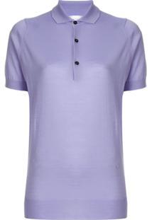 Victoria Beckham Camisa Polo Com Botões - Roxo