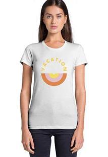 Camiseta Joss Feminina Estampada Vacation - Feminino-Branco