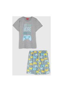 Pijama Tricae Curto Infantil Vídeo Game Azul/Cinza