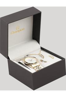 Kit De Relógio Analógico Champion Feminino + Brinco + Colar - Cn25430W Dourado - Único