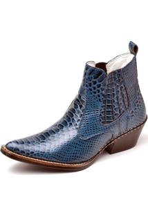 Bota Country Masculina Bico Fino Top Franca Shoes Azul