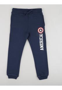 Calça Infantil Capitão América Em Moletom Azul Marinho