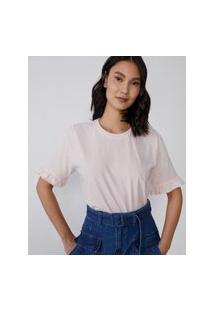 Amaro Feminino T-Shirt Oversized Estonada Com Babado Na Manga, Rosa Claro