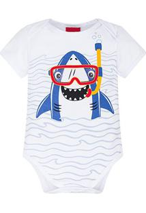 Body Infantil Kyly Cotton Shark Bebê Masculino - Masculino-Branco