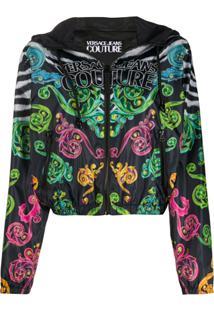 Versace Jeans Couture Jaqueta Com Estampa Barroca E Capuz - Preto