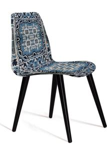 Cadeira De Jantar Eames Palito Preto E Azul