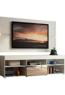 Rack Com Painel Para Tv Até 65 Polegadas Madesa Dublin 1 Porta Com Espelho - Branco Branco
