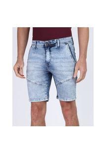 Bermuda Jeans Masculina Slim Com Recortes E Bolsos Azul Claro