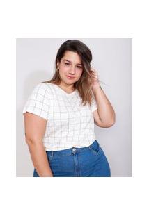 Camiseta Plus Size Feminina Manga Curta Básica Estampada Quadriculada Com Botões Decote Redondo Off White