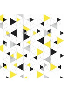 Papel De Parede Adesivo Triângulos Preto Amarelo E Cinza (0,58M X 2,50M)