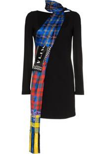 Versace Vestido De Seda Com Detalhe De Cachecol Xadrez - Preto