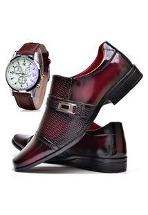 Sapato Social Masculino Asgard Com E Sem Verniz Com Relógio Db 814Lbm Vermelho