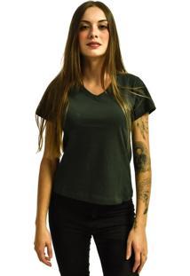 Camiseta Rich Young Gola V Básica Lisa Simples Malha Cinza Chumbo