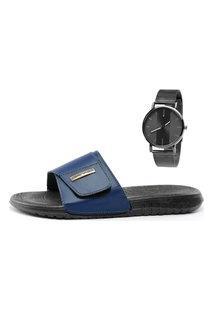 Chinelo Slide Masculino Danper Sapatofran Azul Marinho Com Relógio