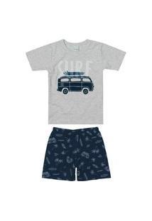 Conjunto Malwee Manga Curta E Bermuda Infantil Pijama Cinza