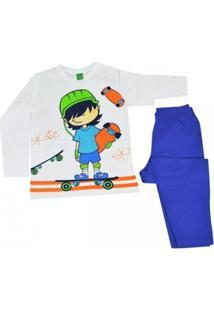 Pijama Infantil Get Baby Masculino - Masculino-Branco+Azul