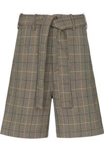 Plan C Check Tailored Shorts - Marrom
