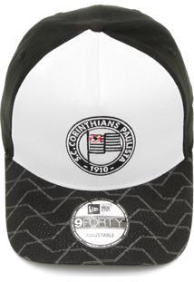 Boné New Era Snapback Corinthians Logo Retrô Branco Preto 7696d92d193