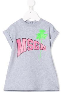 Msgm Kids Vestido Reto Com Logo - Cinza