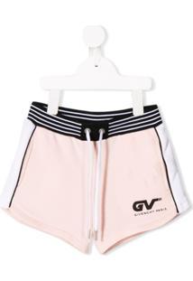 Givenchy Kids Short Com Listra Lateral - Rosa