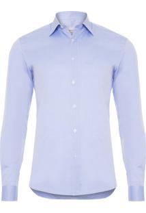 Camisa Masculina Lisa Manga Longa Regular Fit Pima 100/2 - Azul