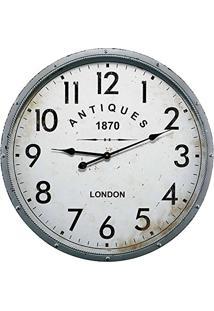 Relógio De Parede Antiques Cinza Em Metal - 68X6,5 Cm