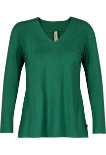 Blusa Básica Canellado Viscolycra Decote V Com Pesponto Verde