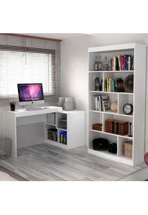 Escrivaninha E Estante Com 6 Prateleiras Para Escritório-Ho-2961-Hecol - Branco
