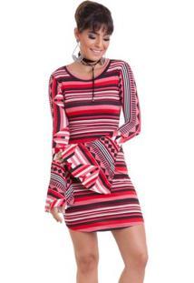 Vestido Manola Listrado - Feminino-Vermelho