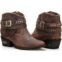 a832447c9 Bota Texana Country Capelli Boots Couro Cano Curto Fivelas Feminina -  Feminino-Café