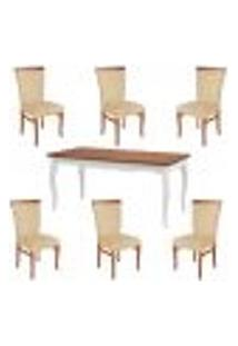 Conjunto Mesa Gallia 160Cm Com 6 Cadeiras Orfeu Poliéster Branco/Imbuía - Gran Belo