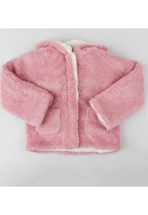 Casaco Infantil De Pelo Com Capuz E Bolsos Rosa