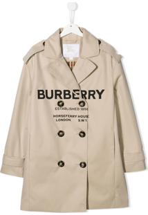 Burberry Kids Trench Coat Com Logo - Neutro